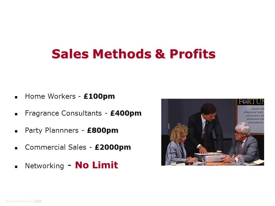 £100pm Home Workers - £100pm £400pm Fragrance Consultants - £400pm £800pm Party Plannners - £800pm £2000pm Commercial Sales - £2000pm - No Limit Networking - No Limit Sales Methods & Profits © DiamondFM June 2008