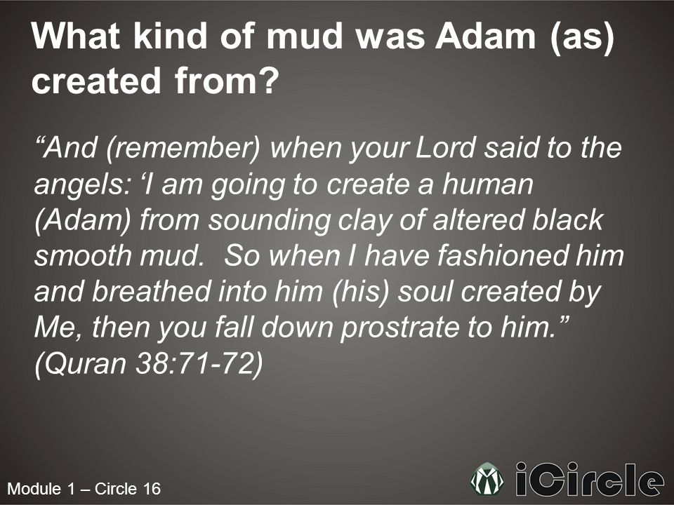 Module 1 – Circle 16 What kind of mud was Adam (as) created from? And (remember) when your Lord said to the angels: I am going to create a human (Adam