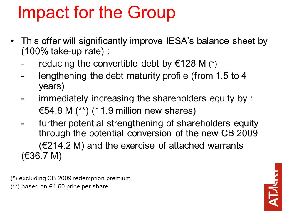 This offer will significantly improve IESAs balance sheet by (100% take-up rate) : -reducing the convertible debt by 128 M (*) - lengthening the debt maturity profile (from 1.5 to 4 years) -immediately increasing the shareholders equity by : 54.8 M (**) (11.9 million new shares) -further potential strengthening of shareholders equity through the potential conversion of the new CB 2009 (214.2 M) and the exercise of attached warrants (36.7 M) (*) excluding CB 2009 redemption premium (**) based on 4.60 price per share Impact for the Group