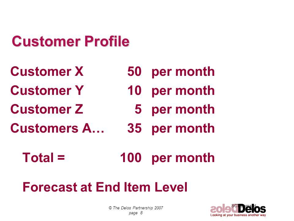 SCT Demand © The Delos Partnership 2007 page 8 Customer Profile Customer X 50per month Customer Y 10 per month Customer Z 5 per month Customers A… 35