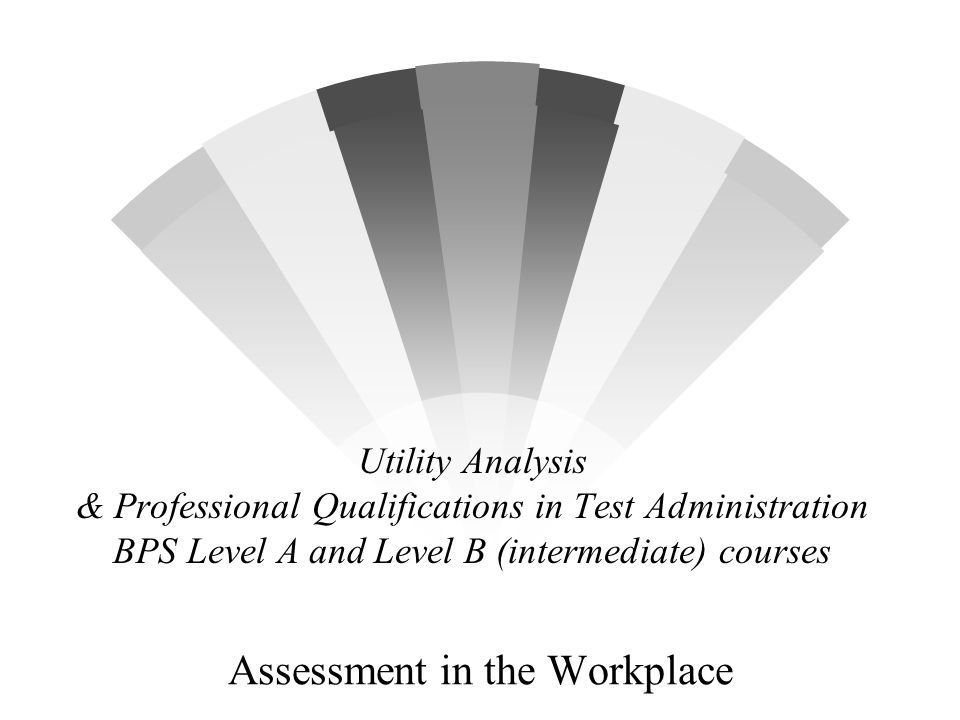 Utility Analysis & Professional Qualifications in Test Administration BPS Level A and Level B (intermediate) courses Assessment in the Workplace