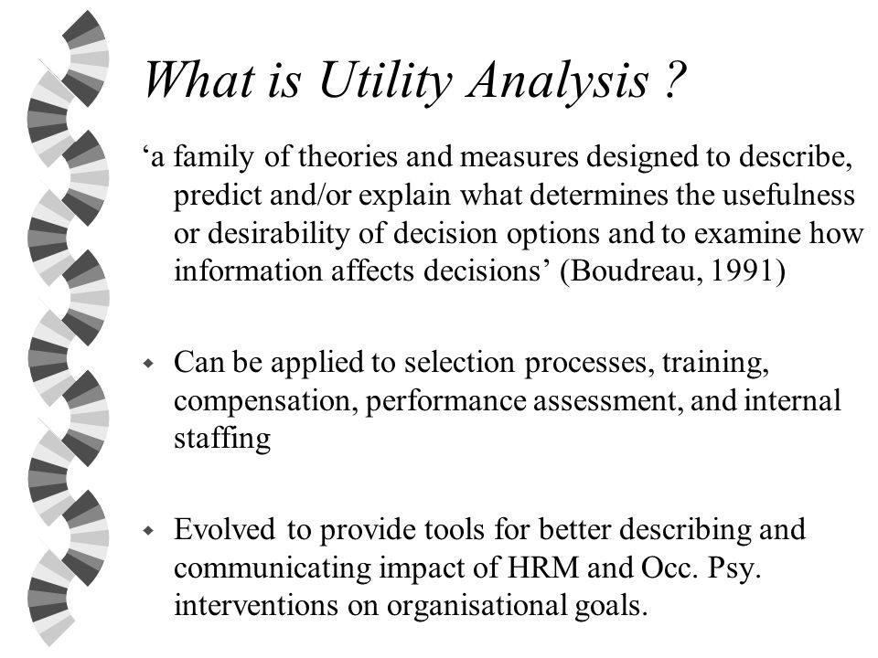 What is Utility Analysis .