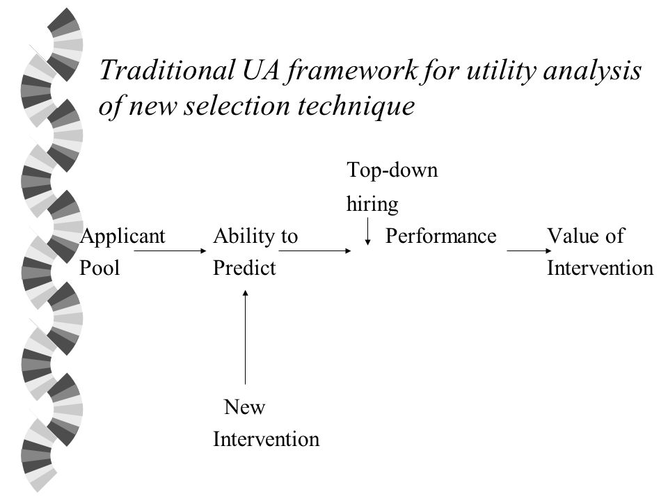 Traditional UA framework for utility analysis of new selection technique Top-down hiring Applicant Ability to Performance Value of PoolPredictIntervention New Intervention
