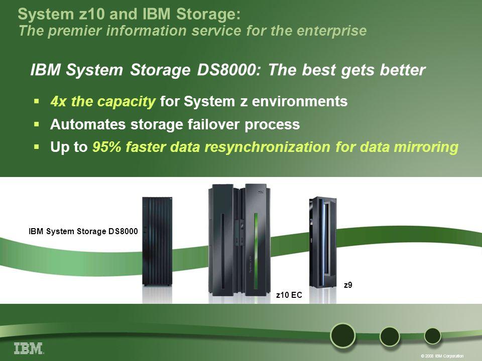 © 2008 IBM Corporation z10 EC IBM System Storage DS8000 IBM System Storage DS8000: The best gets better z9 System z10 and IBM Storage: The premier inf