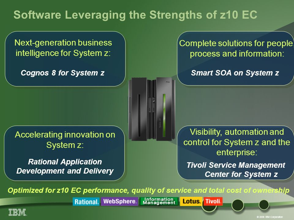© 2008 IBM Corporation Software Leveraging the Strengths of z10 EC Visibility, automation and control for System z and the enterprise: Optimized for z10 EC performance, quality of service and total cost of ownership Complete solutions for people, process and information: Accelerating innovation on System z: Next-generation business intelligence for System z: Cognos 8 for System z Rational Application Development and Delivery Tivoli Service Management Center for System z Smart SOA on System z