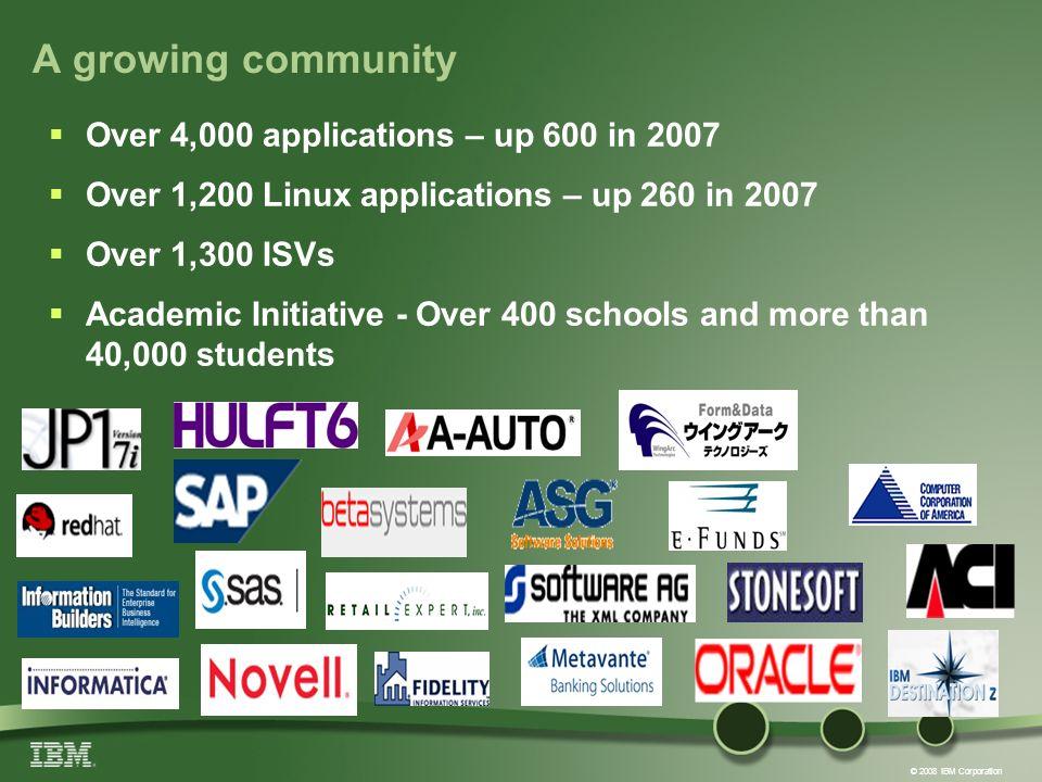 © 2008 IBM Corporation A growing community Over 4,000 applications – up 600 in 2007 Over 1,200 Linux applications – up 260 in 2007 Over 1,300 ISVs Aca