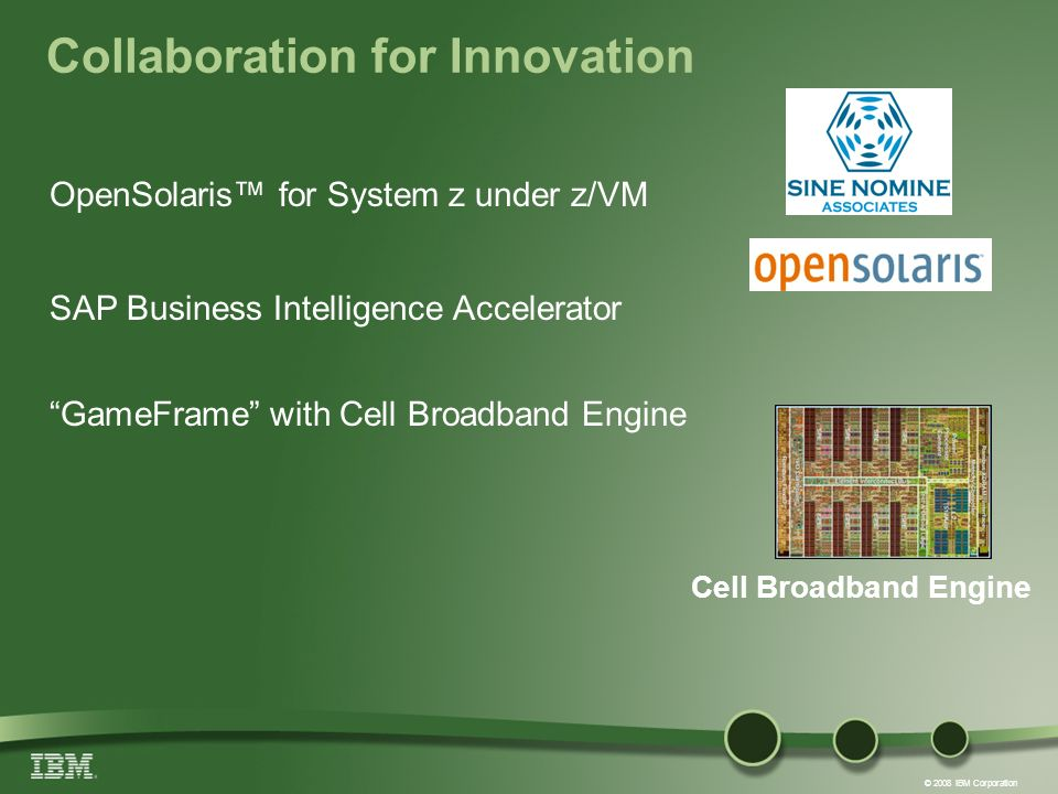 © 2008 IBM Corporation Collaboration for Innovation OpenSolaris for System z under z/VM SAP Business Intelligence Accelerator GameFrame with Cell Broadband Engine Cell Broadband Engine