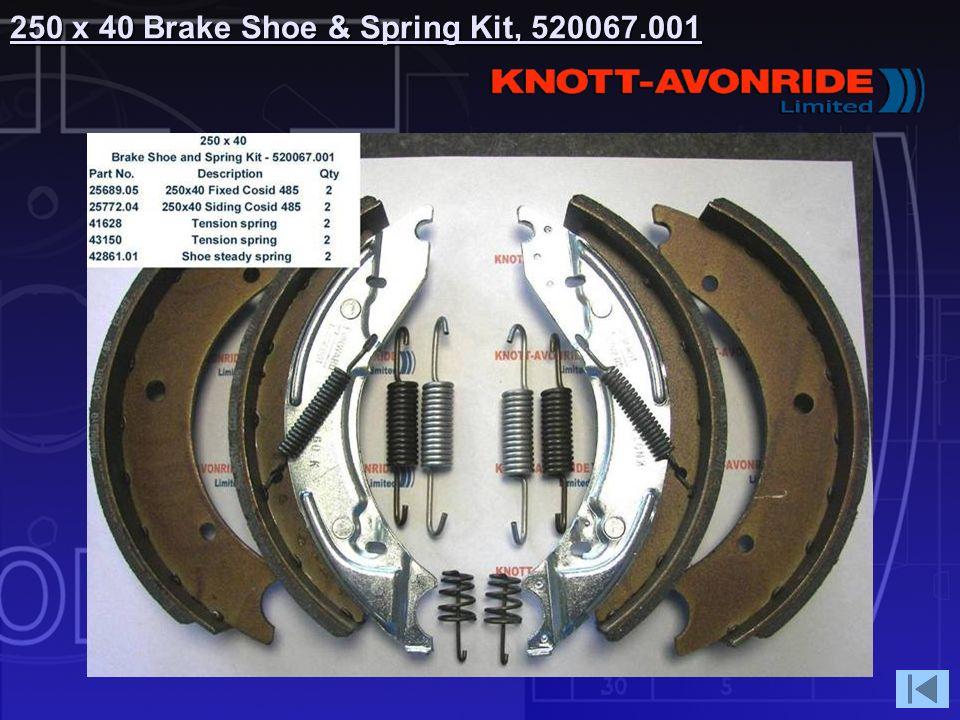 250 x 40 Brake Shoe & Spring Kit, 520067.001