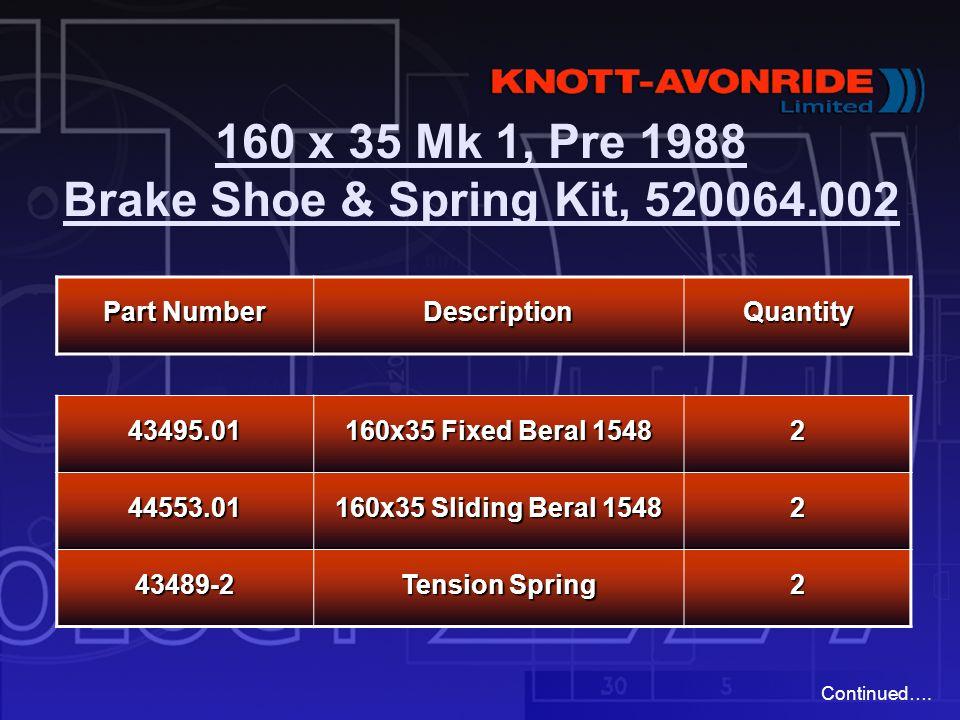 160 x 35 Mk 1, Pre 1988 Brake Shoe & Spring Kit, 520064.002 Part Number DescriptionQuantity 43495.01 160x35 Fixed Beral 1548 2 44553.01 160x35 Sliding