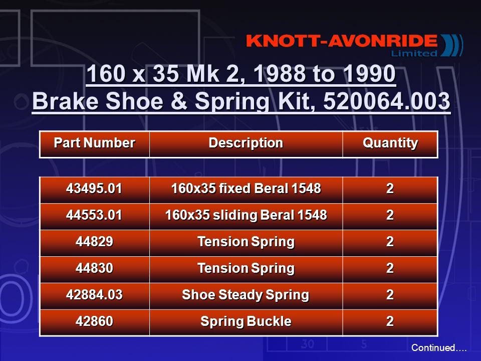 160 x 35 Mk 2, 1988 to 1990 Brake Shoe & Spring Kit, 520064.003 Part Number DescriptionQuantity 43495.01 160x35 fixed Beral 1548 2 44553.01 160x35 sli