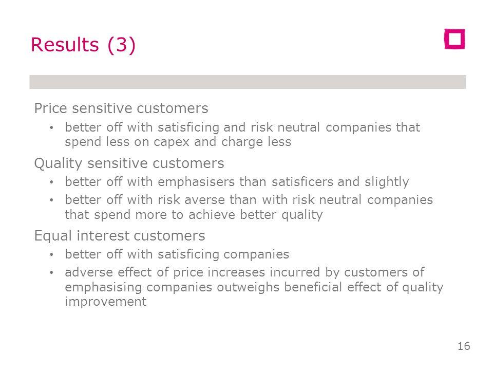 Emph & Neutral Emph & Averse Satis & Neutral Satis & Averse Min7.5%5.8%15.6%14.2% 1 st Q12.8%11.7%17.8%17.0% Mean15.0%14.0%19.0%18.2% 3 rd Q17.2%16.4%