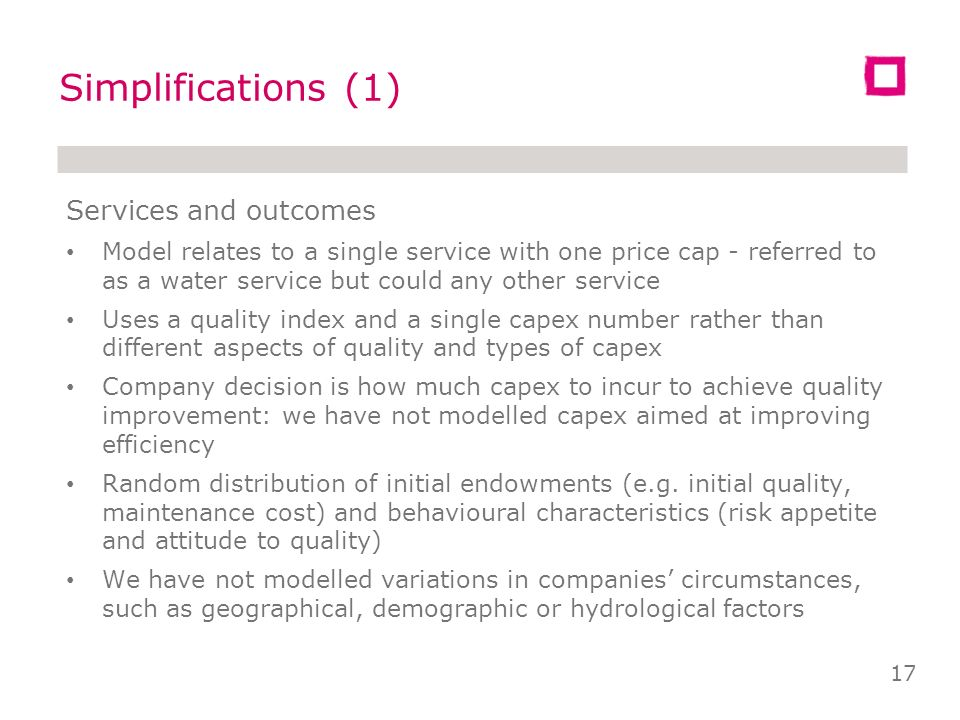 Results (3) Price sensitive customers better off with satisficing and risk neutral companies that spend less on capex and charge less Quality sensitiv