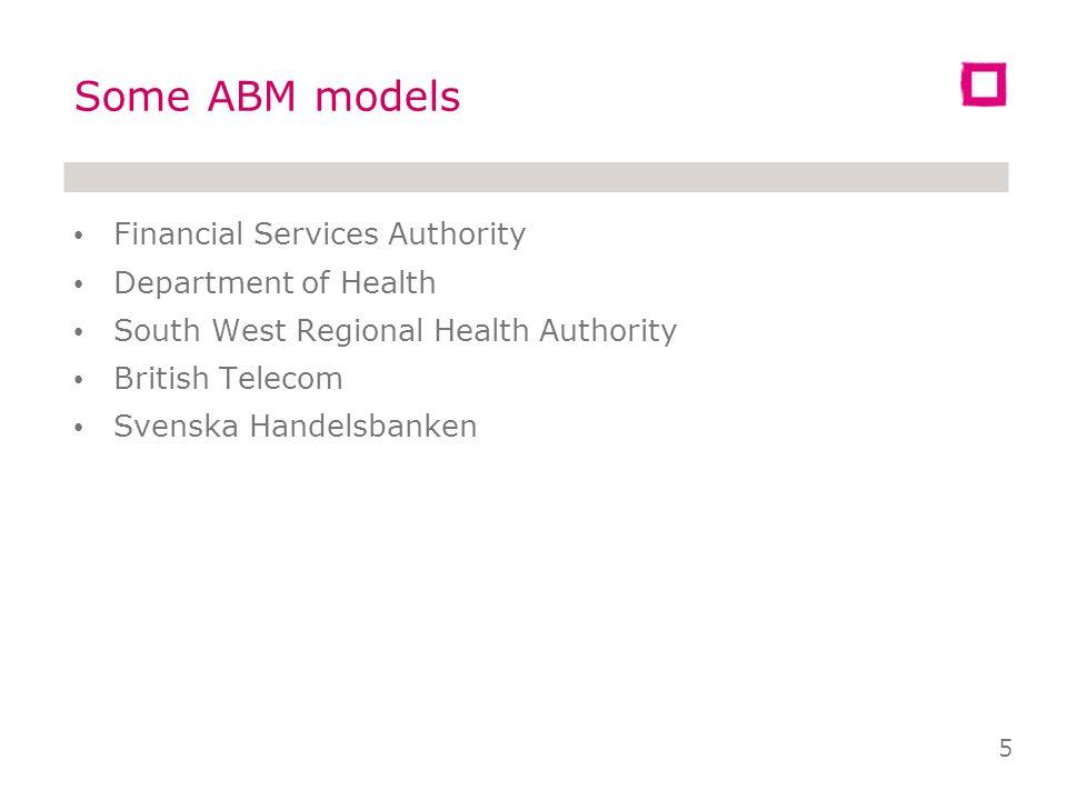 Some ABM models Financial Services Authority Department of Health South West Regional Health Authority British Telecom Svenska Handelsbanken 5