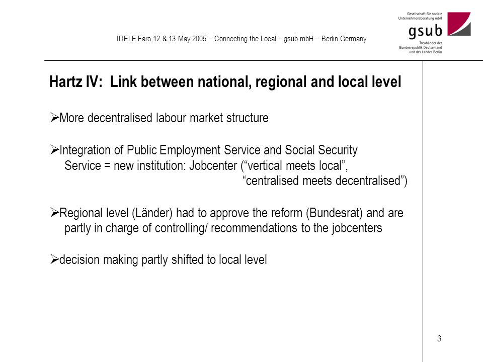 3 IDELE Faro 12 & 13 May 2005 – Connecting the Local – gsub mbH – Berlin Germany Hartz IV: Link between national, regional and local level More decentralised labour market structure Integration of Public Employment Service and Social Security Service = new institution: Jobcenter (vertical meets local, centralised meets decentralised) Regional level (Länder) had to approve the reform (Bundesrat) and are partly in charge of controlling/ recommendations to the jobcenters decision making partly shifted to local level