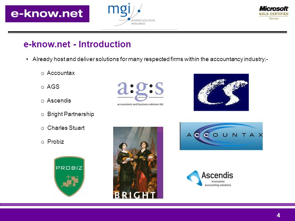 e-know.net - Introduction Already host and deliver solutions for many respected firms within the accountancy industry;- o Accountax o AGS o Ascendis o Bright Partnership o Charles Stuart o Probiz 4