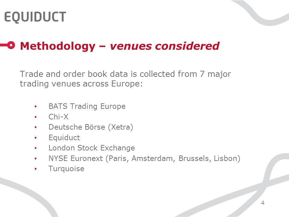 4 Methodology – venues considered Trade and order book data is collected from 7 major trading venues across Europe: BATS Trading Europe Chi-X Deutsche Börse (Xetra) Equiduct London Stock Exchange NYSE Euronext (Paris, Amsterdam, Brussels, Lisbon) Turquoise