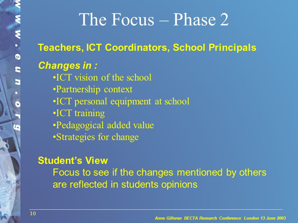 Anne Gilleran BECTA Research Conference London 13 June 2003 10 The Focus – Phase 2 Teachers, ICT Coordinators, School Principals Changes in : ICT vision of the school Partnership context ICT personal equipment at school ICT training Pedagogical added value Strategies for change Students View Focus to see if the changes mentioned by others are reflected in students opinions