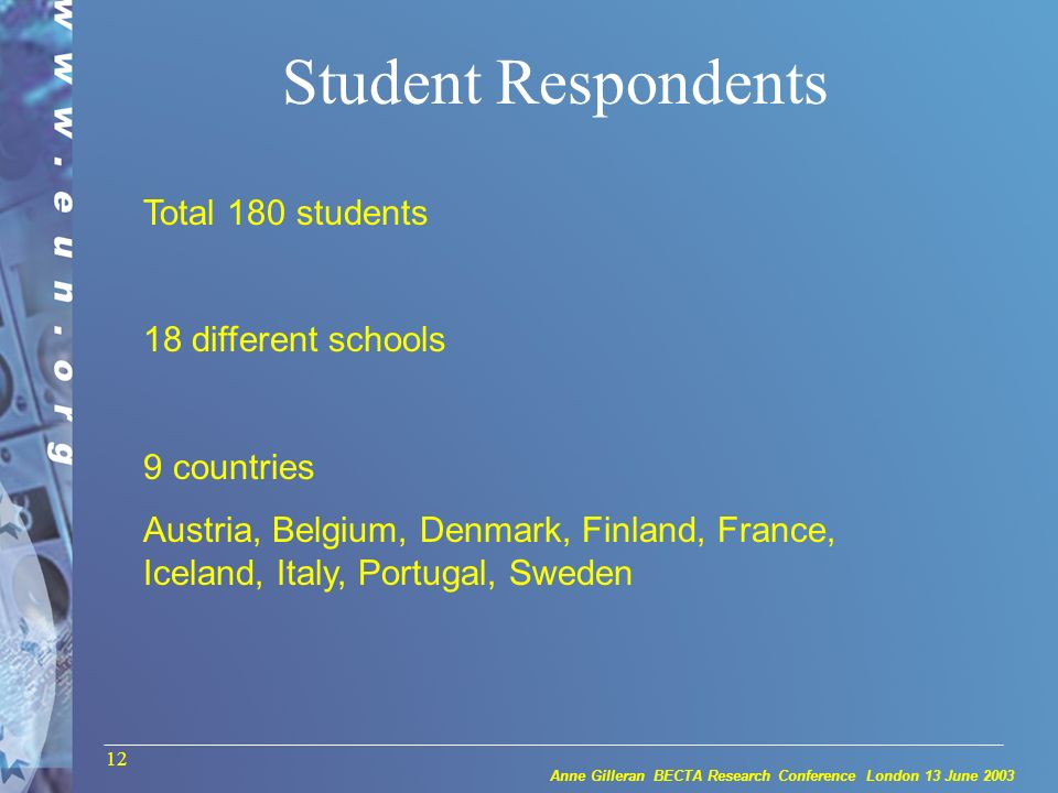Anne Gilleran BECTA Research Conference London 13 June 2003 12 Student Respondents Total 180 students 18 different schools 9 countries Austria, Belgium, Denmark, Finland, France, Iceland, Italy, Portugal, Sweden