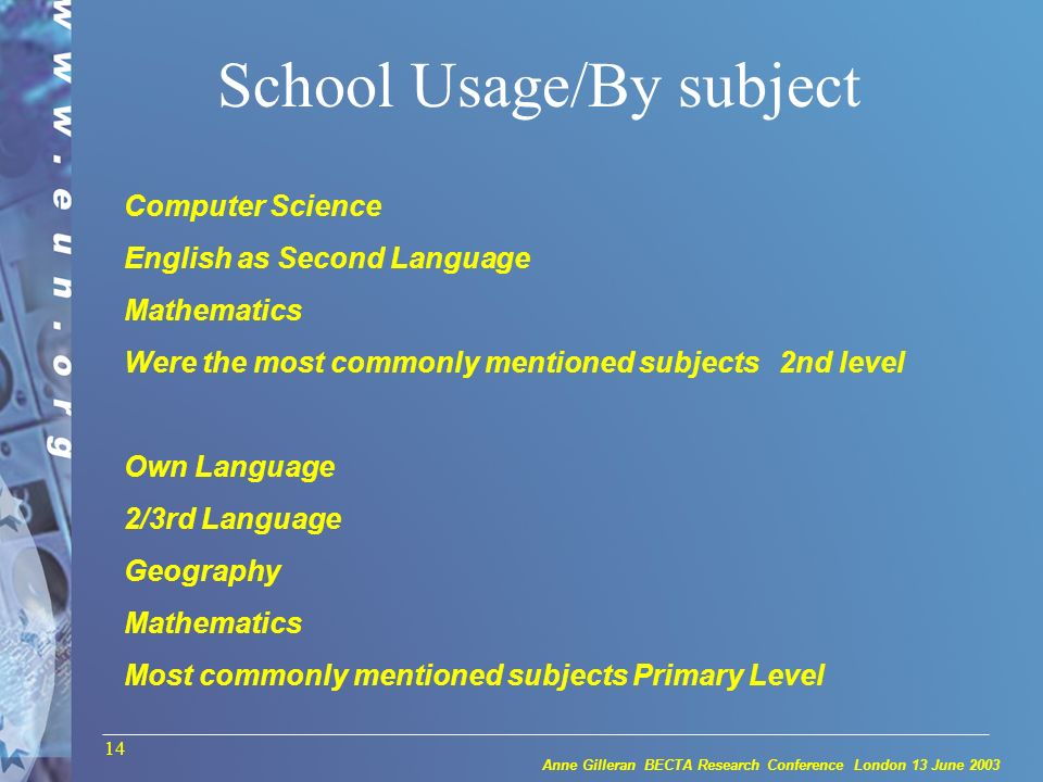 Anne Gilleran BECTA Research Conference London 13 June 2003 14 School Usage/By subject Computer Science English as Second Language Mathematics Were the most commonly mentioned subjects 2nd level Own Language 2/3rd Language Geography Mathematics Most commonly mentioned subjects Primary Level