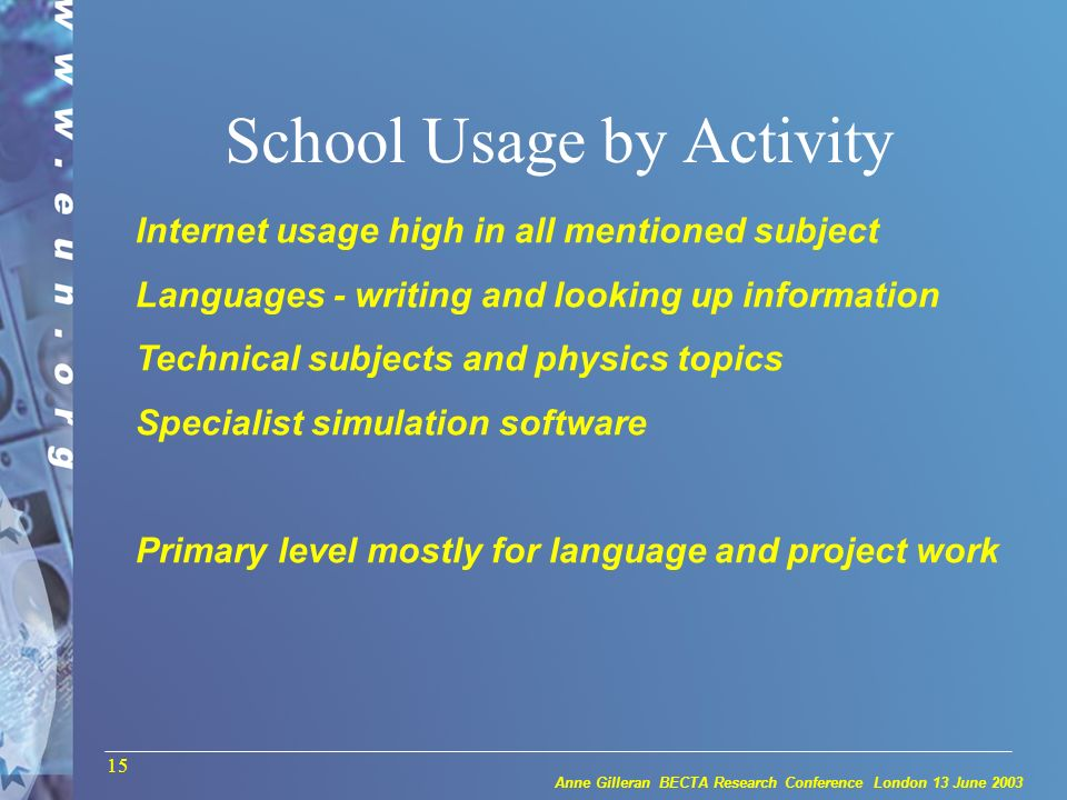 Anne Gilleran BECTA Research Conference London 13 June 2003 15 School Usage by Activity Internet usage high in all mentioned subject Languages - writing and looking up information Technical subjects and physics topics Specialist simulation software Primary level mostly for language and project work