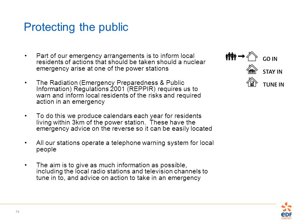 14 Protecting the public Part of our emergency arrangements is to inform local residents of actions that should be taken should a nuclear emergency ar
