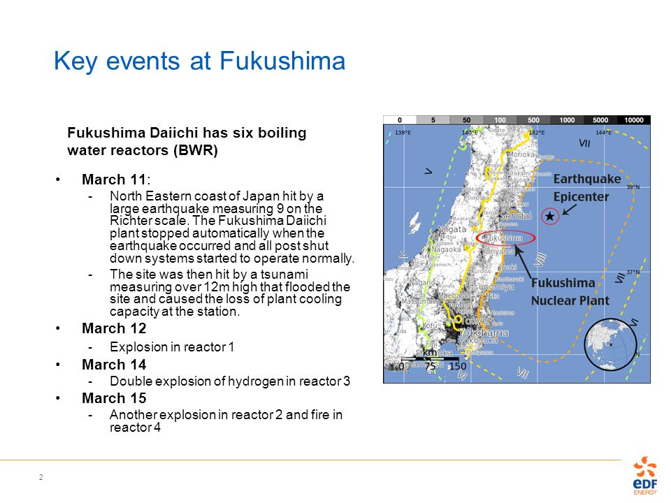 2 Key events at Fukushima March 11: -North Eastern coast of Japan hit by a large earthquake measuring 9 on the Richter scale. The Fukushima Daiichi pl