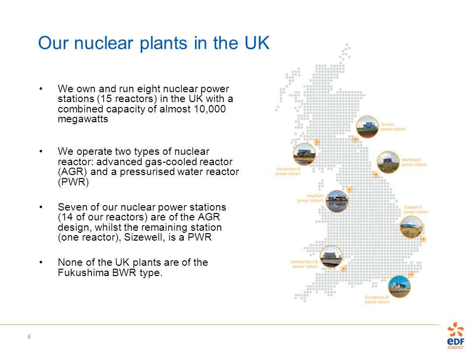 5 Our nuclear plants in the UK We own and run eight nuclear power stations (15 reactors) in the UK with a combined capacity of almost 10,000 megawatts
