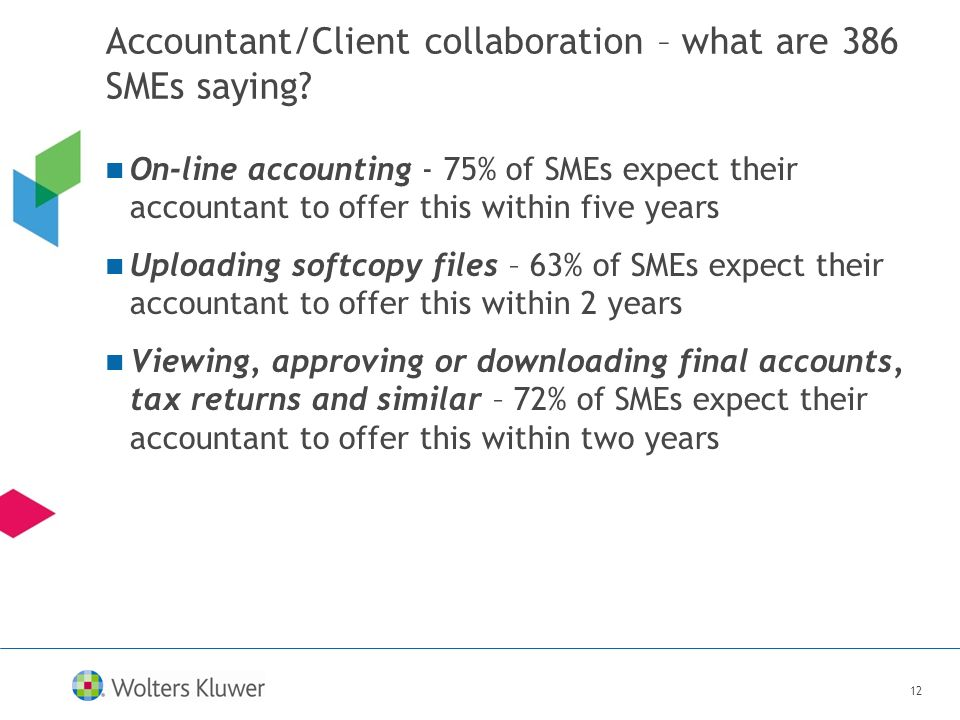 12 Accountant/Client collaboration – what are 386 SMEs saying? On-line accounting - 75% of SMEs expect their accountant to offer this within five year