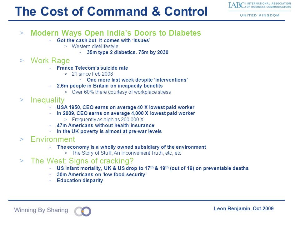 Accelerating Product Acquisition & Distribution Leon Benjamin, Oct 2009 The Cost of Command & Control >Modern Ways Open Indias Doors to Diabetes Got t