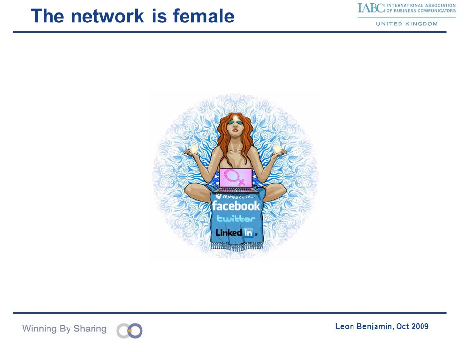 Accelerating Product Acquisition & Distribution Leon Benjamin, Oct 2009 The network is female
