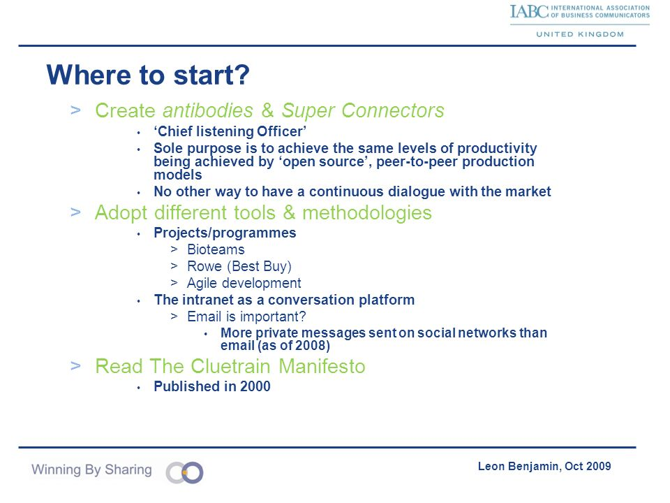 Accelerating Product Acquisition & Distribution Leon Benjamin, Oct 2009 Where to start? >Create antibodies & Super Connectors Chief listening Officer