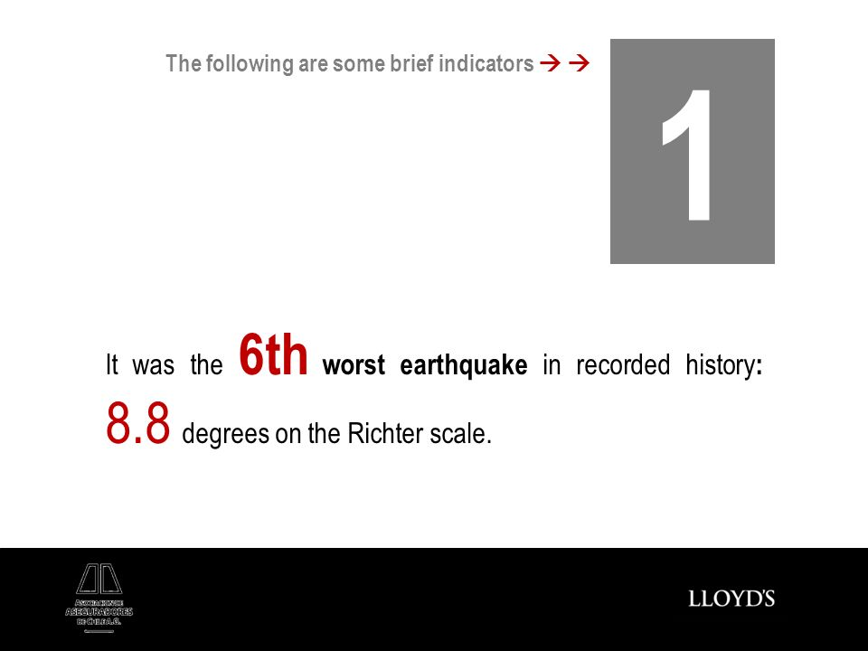It was the 6th worst earthquake in recorded history : 8.8 degrees on the Richter scale. 1 The following are some brief indicators
