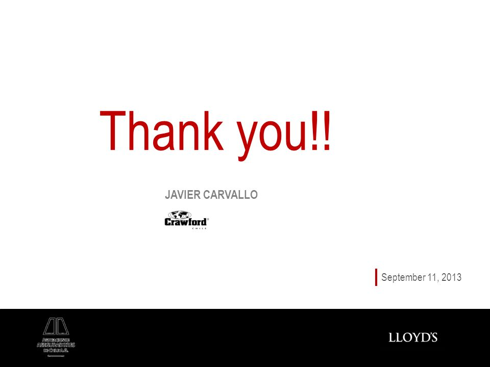 Thank you!! September 11, 2013 JAVIER CARVALLO