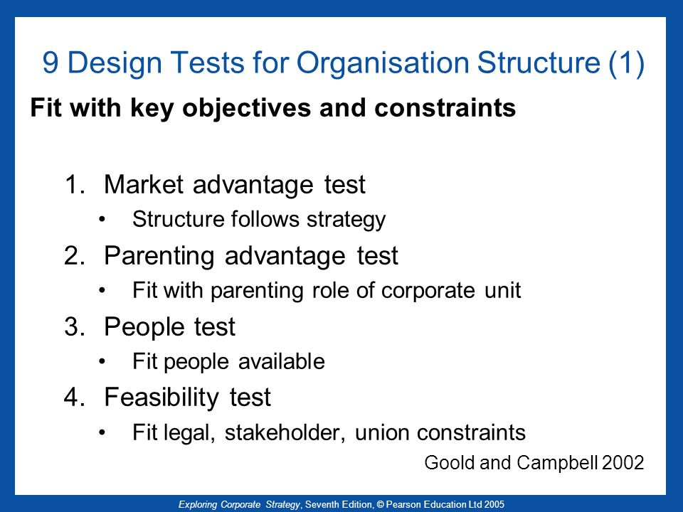 Exploring Corporate Strategy, Seventh Edition, © Pearson Education Ltd 2005 9 Design Tests for Organisation Structure (1) Fit with key objectives and
