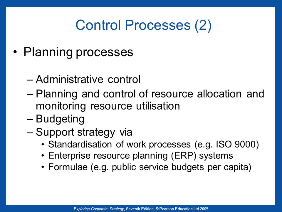 Exploring Corporate Strategy, Seventh Edition, © Pearson Education Ltd 2005 Control Processes (2) Planning processes –Administrative control –Planning