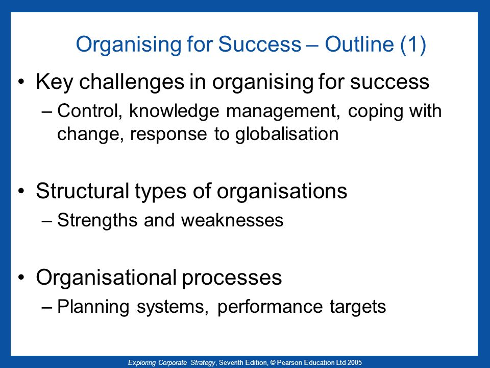 Exploring Corporate Strategy, Seventh Edition, © Pearson Education Ltd 2005 Organising for Success – Outline (1) Key challenges in organising for succ