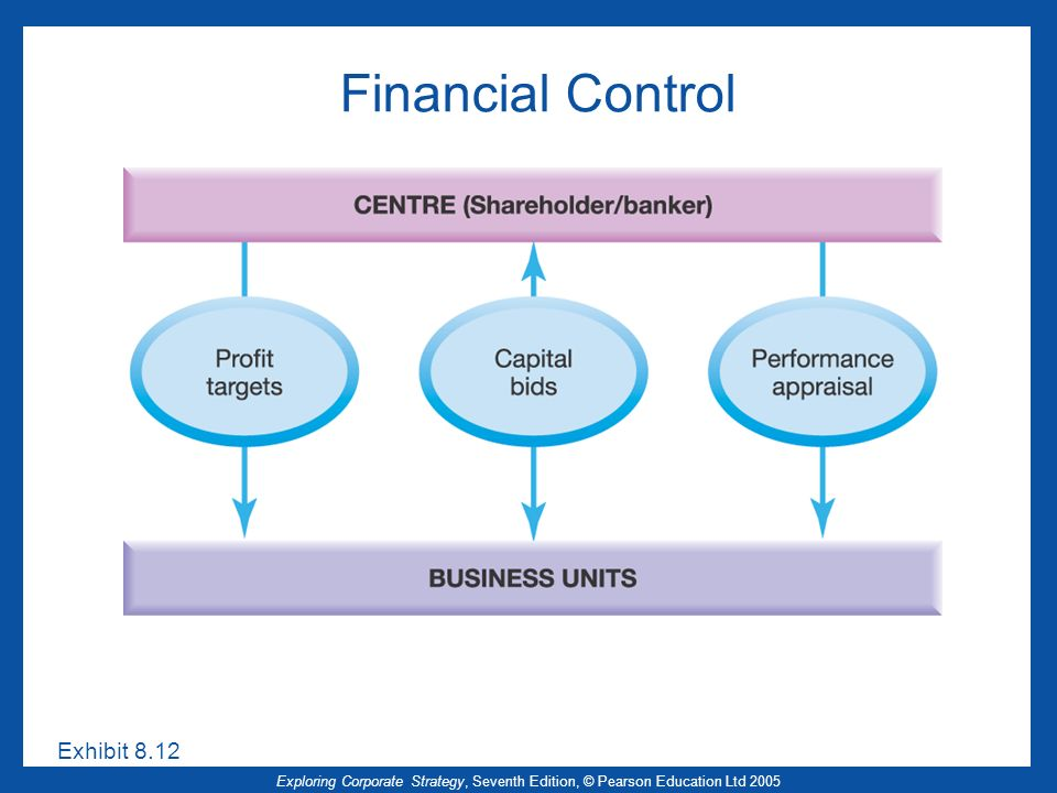 Exploring Corporate Strategy, Seventh Edition, © Pearson Education Ltd 2005 Financial Control Exhibit 8.12
