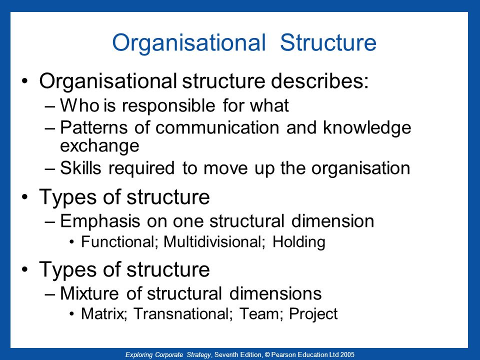 Exploring Corporate Strategy, Seventh Edition, © Pearson Education Ltd 2005 Organisational Structure Organisational structure describes: –Who is respo