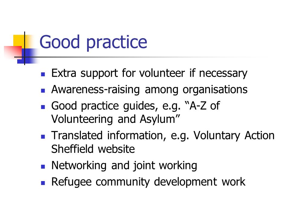 Good practice Extra support for volunteer if necessary Awareness-raising among organisations Good practice guides, e.g.