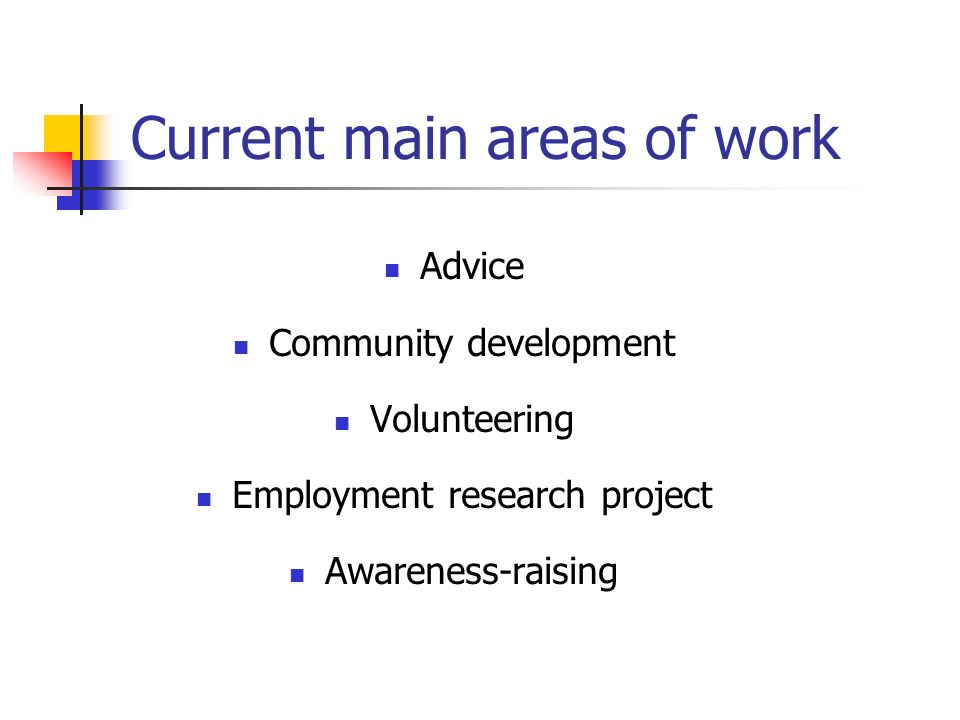 Current main areas of work Advice Community development Volunteering Employment research project Awareness-raising