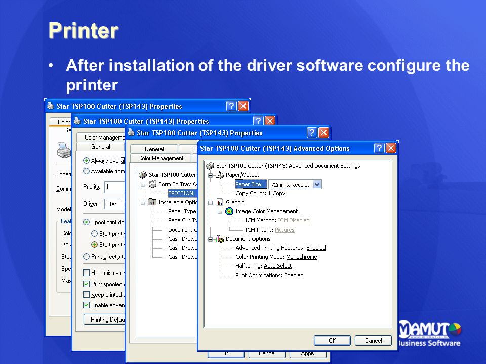Printer After installation of the driver software configure the printer