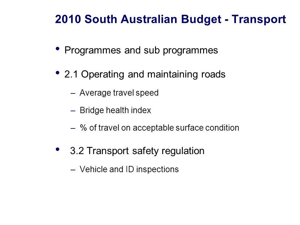 2010 South Australian Budget - Transport Programmes and sub programmes 2.1 Operating and maintaining roads –Average travel speed –Bridge health index