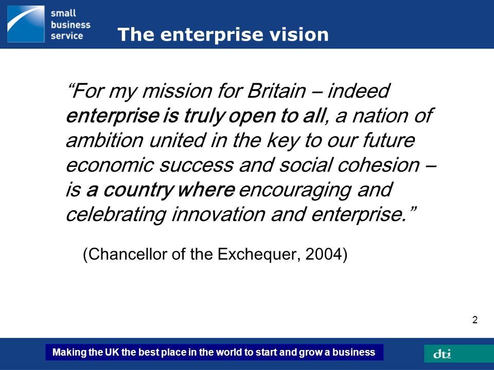 Making the UK the best place in the world to start and grow a business 3 Enterprise contributes to productivity growth Enterprise one of the five drivers of productivity SMEs employ over 50% of private sector workforce SMEs account for more than £1 trillion of private sector turnover Enterprise creates productive churn through innovation and competition with existing players