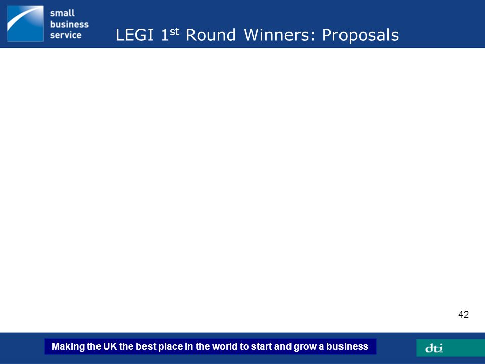 Making the UK the best place in the world to start and grow a business 42 LEGI 1 st Round Winners: Proposals