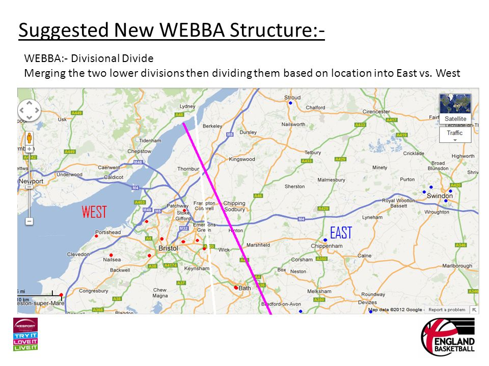 Suggested New WEBBA Structure:- WEBBA:- Divisional Divide Merging the two lower divisions then dividing them based on location into East vs.