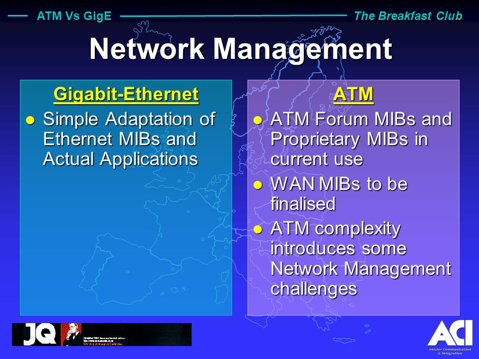 ATM Vs GigE The Breakfast Club Supported Applications Gigabit-Ethernet l Pure LAN Technology l Traffic Type: Data l QoS: Rudimentary: RSVP l Flow Control: All-or- Nothing, Localised (Impact on QoS ) l Enough Bandwidth to support everything ….
