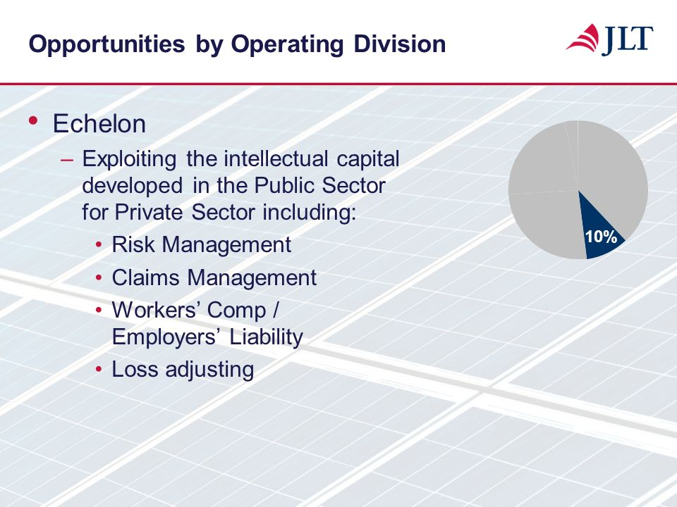 Opportunities by Operating Division Echelon –Exploiting the intellectual capital developed in the Public Sector for Private Sector including: Risk Man