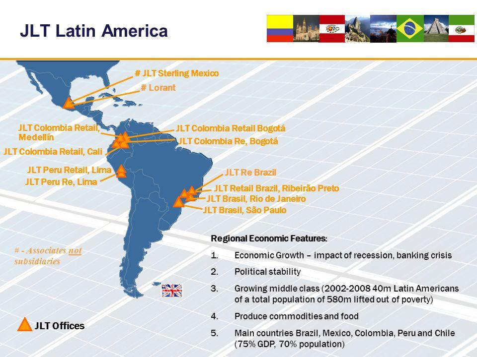 JLT Latin America JLT Offices JLT Brasil, Rio de Janeiro JLT Brasil, São Paulo # JLT Sterling Mexico JLT Colombia Retail, Medellín JLT Colombia Re, Bo