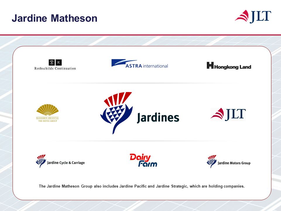 Jardine Matheson The Jardine Matheson Group also includes Jardine Pacific and Jardine Strategic, which are holding companies.