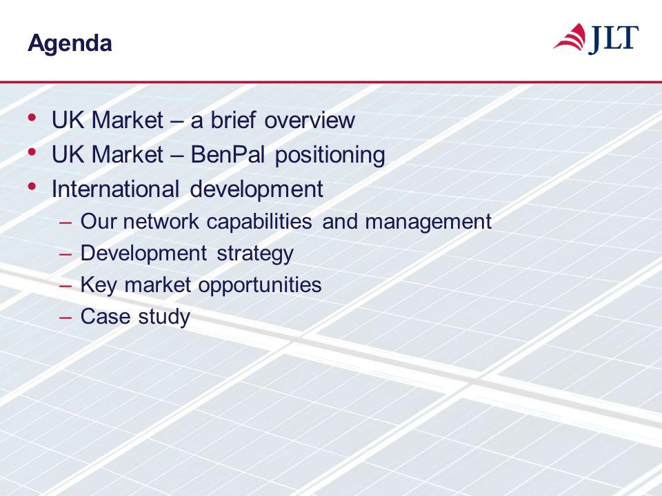 Agenda UK Market – a brief overview UK Market – BenPal positioning International development –Our network capabilities and management –Development str